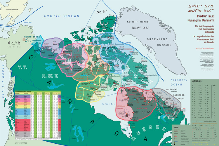 Map of the Inuit Language in Inuit Communities in Canada, Sontag