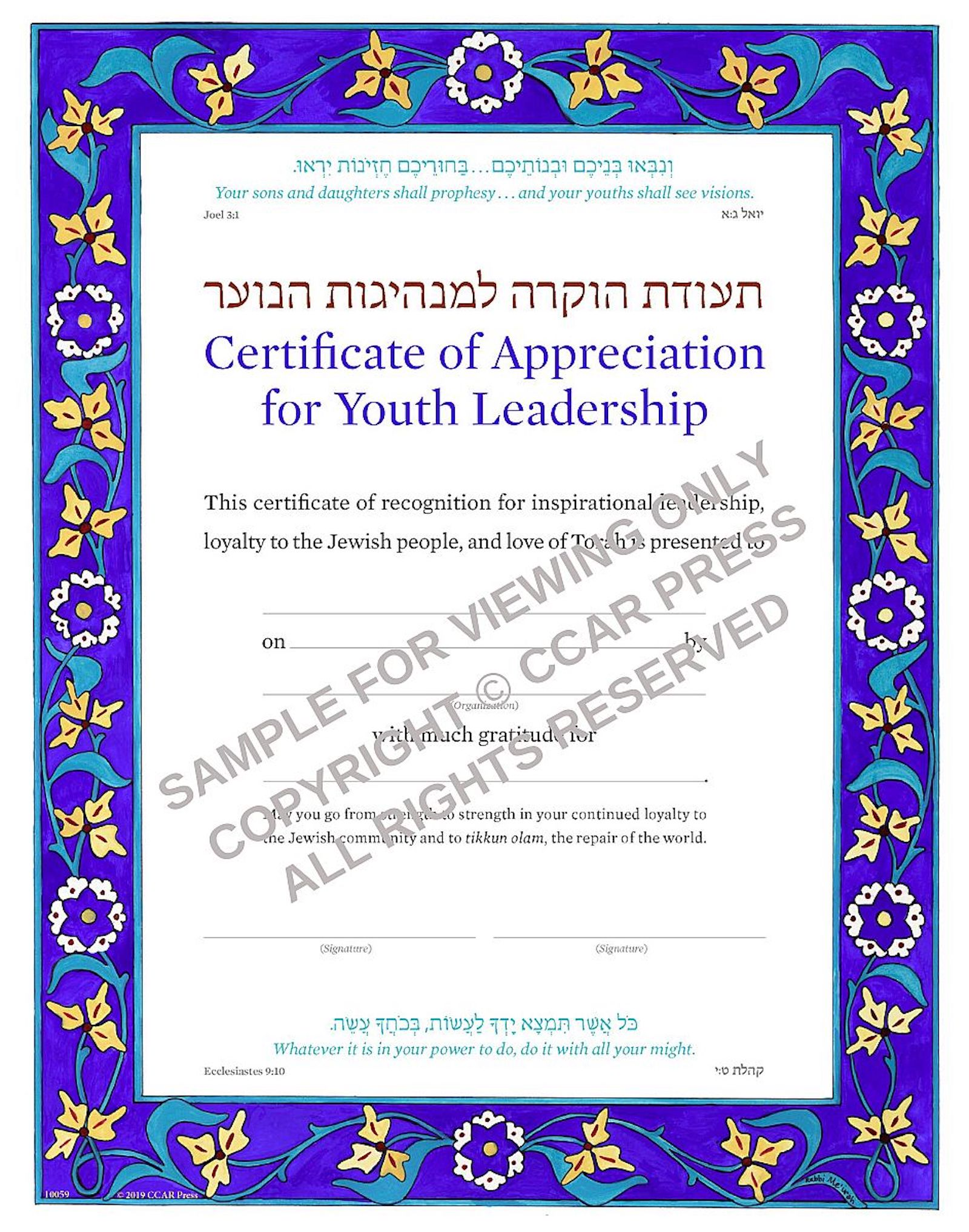 Recognizing Youth Leadership - Certificate