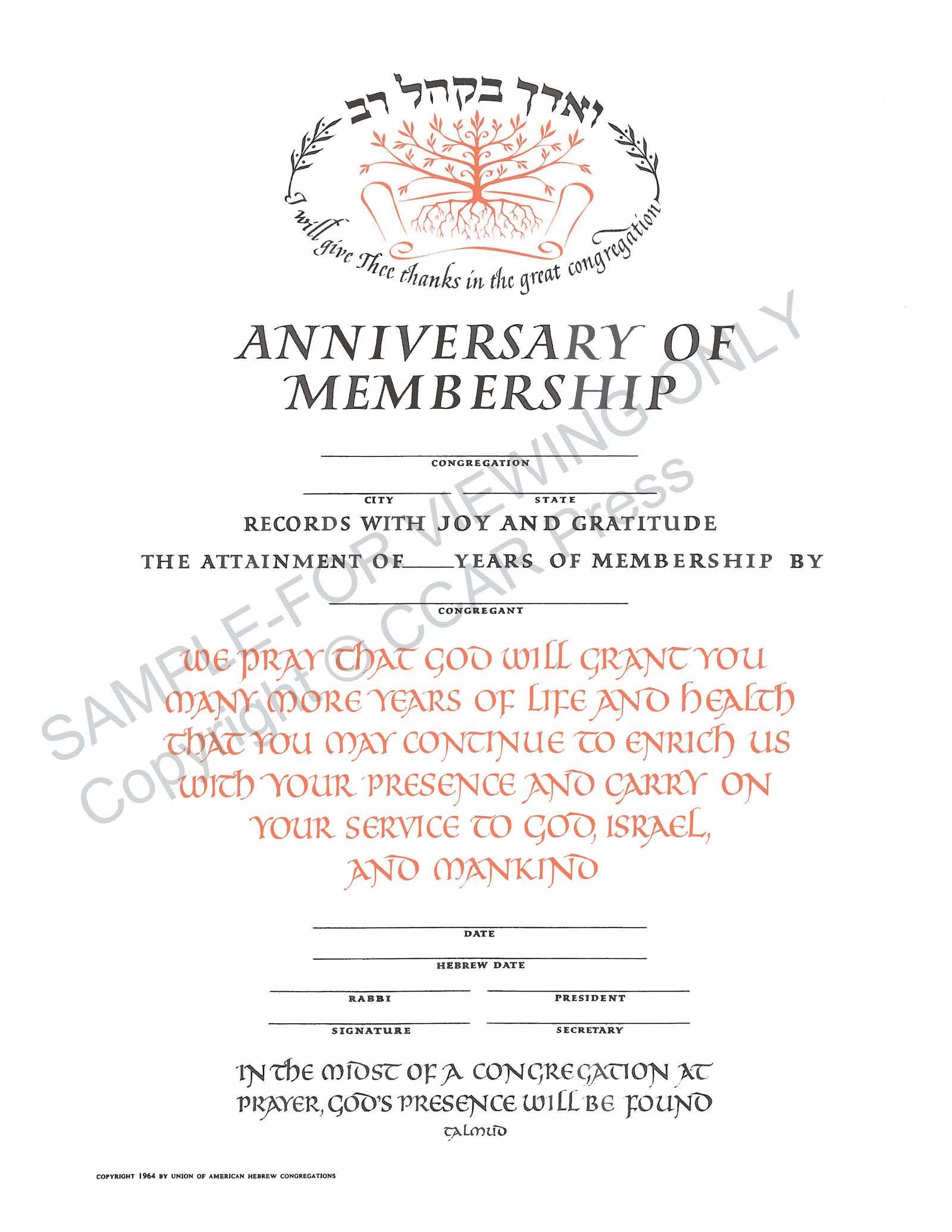 Anniversary of Membership - Certificate
