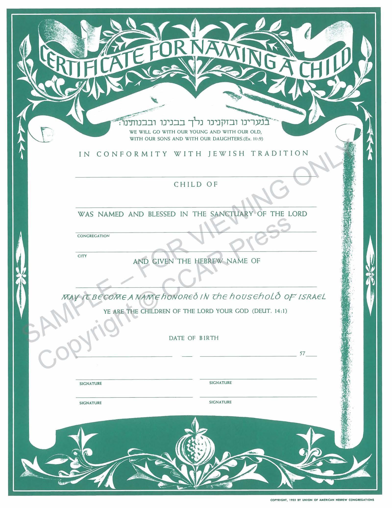 Child Naming, Single - Certificate