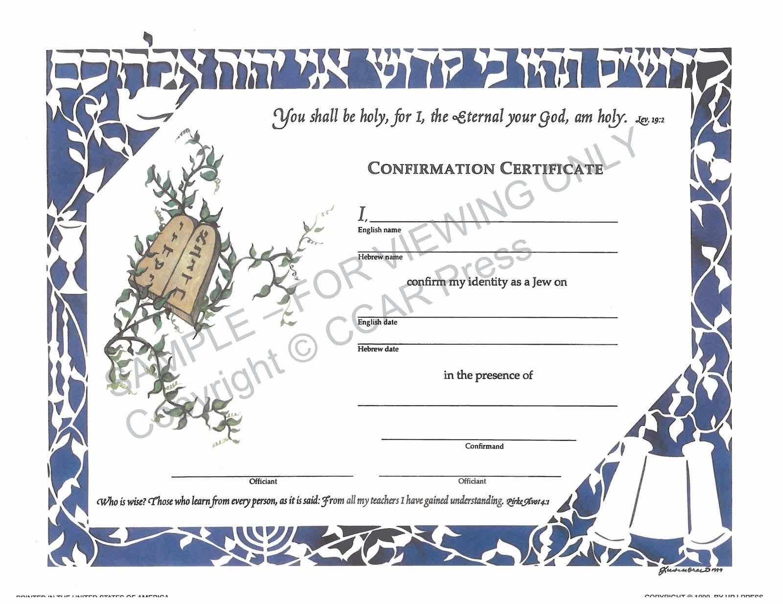 Confirmation, Single, Illuminated - Certificate